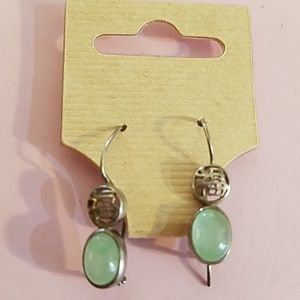Jade and Silver Earrings by Avon